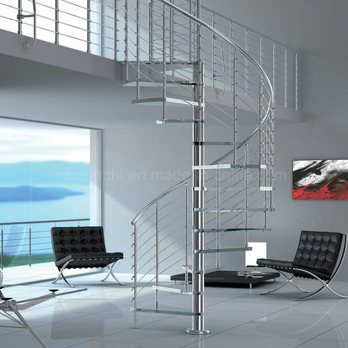 DIY Glass Spiral Staircase Stainless Steel Frame Glass Steps Without Risers pictures & photos