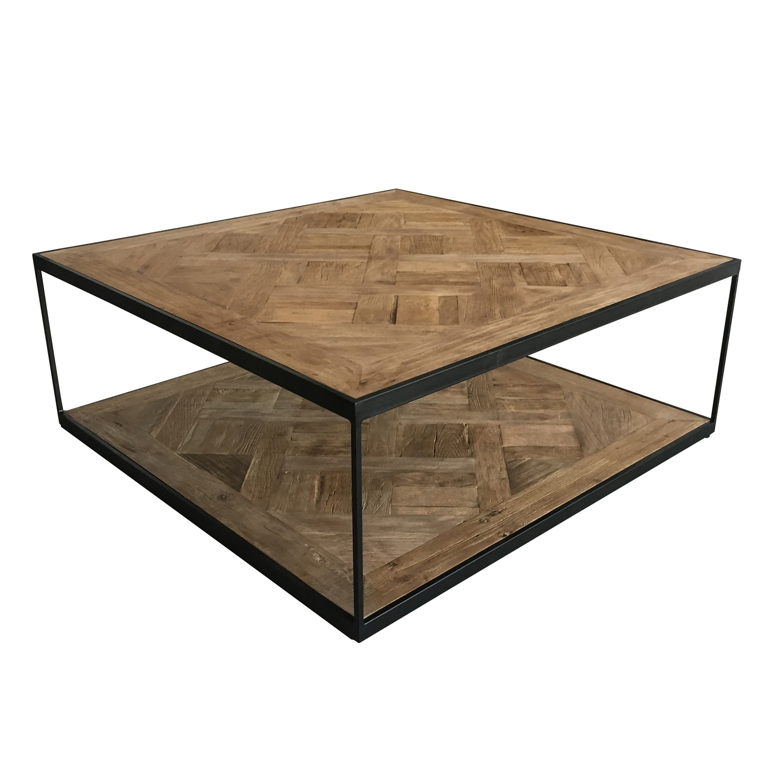 China Vintage Industrial Square Metal Steel Iron Frame Wood Coffee Table China Industrial Square Coffee Table Industrial Wood Coffee Table