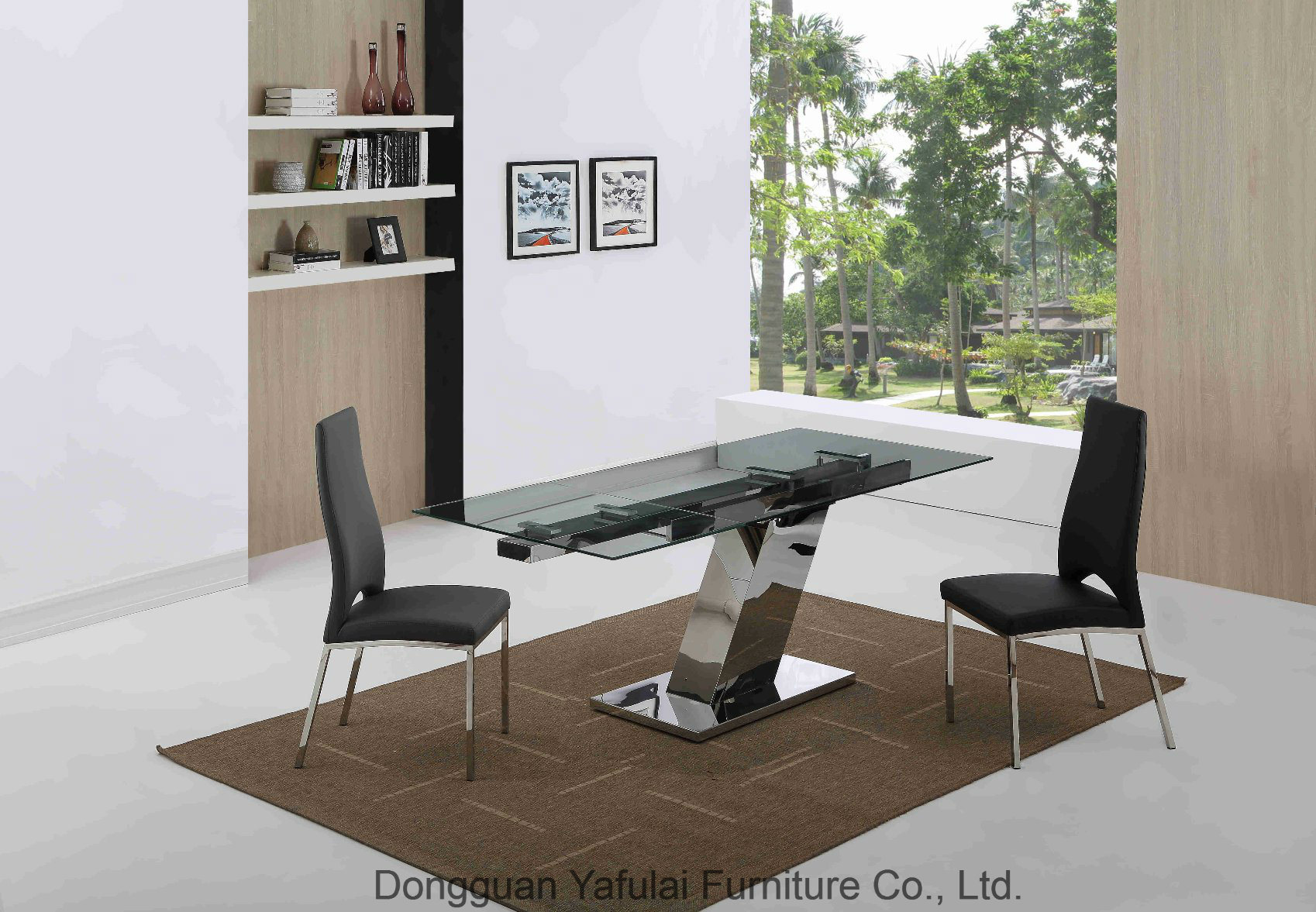 China modern classic glass steel dining table home furniture china glass dining table extension furniture