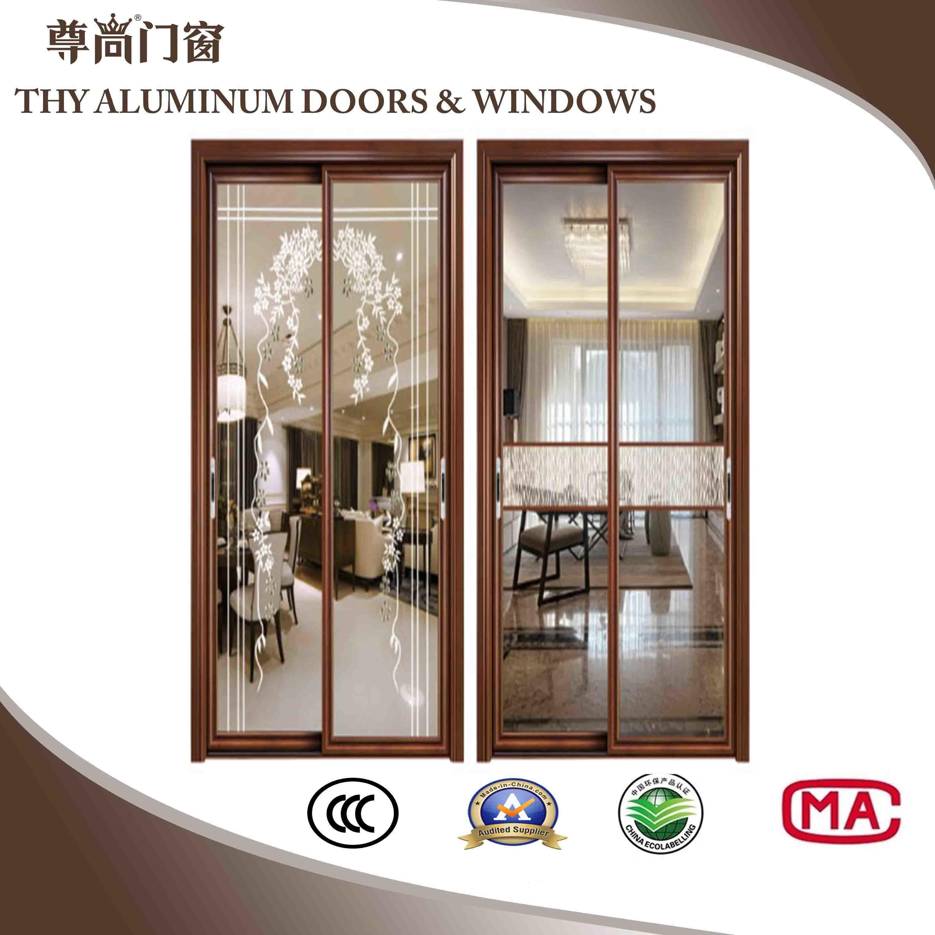China Times Huiye Aluminium Sliding Door With Double Layer Glass