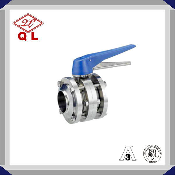 Sanitary Stainless Steel Three-Piece Butterfly Valve pictures & photos