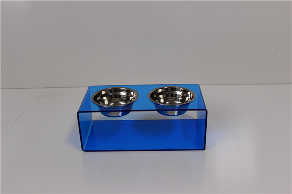High Transparent Pets 5 Star Modern Solid Acrylic Dog Feeder with 2 Extra Heavy 1-Quart Gold Bowls