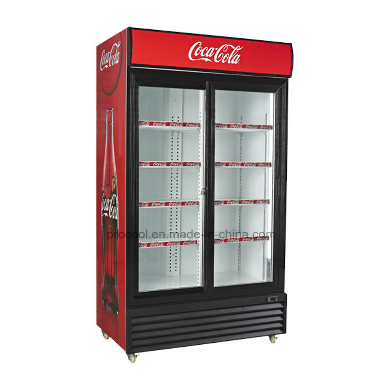 China Glass Door Commercial Refrigerated Showcase For Supermarket