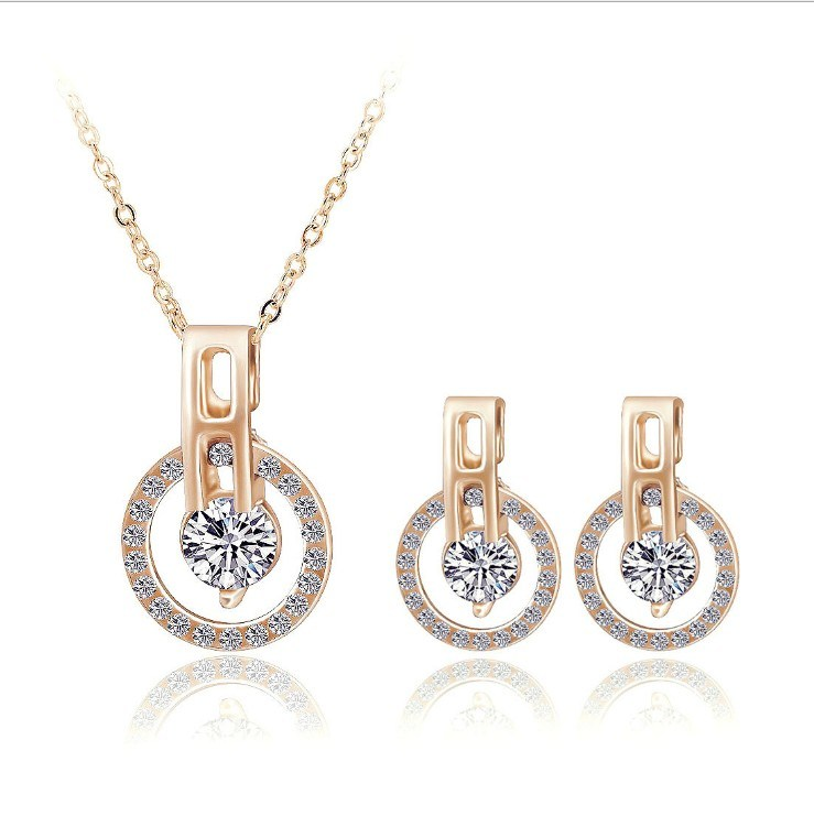 China Big Sale Wedding Jewelry Sets Rose Gold Color Necklace