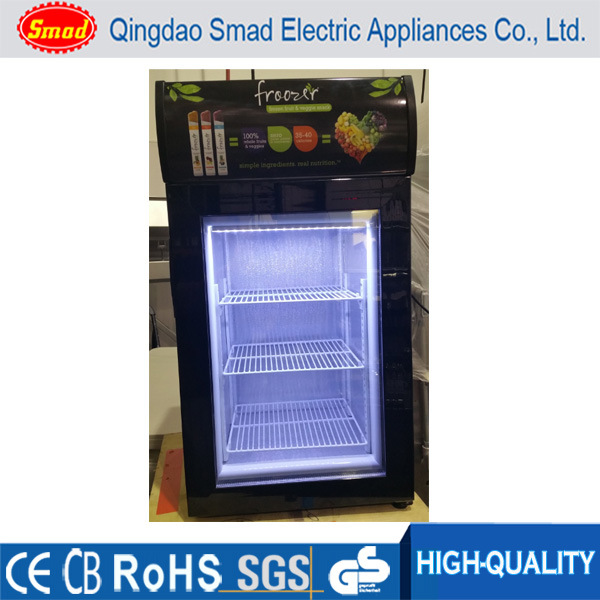 China Countertop Freezer Mini Ice Cream Display Upright Glass Door