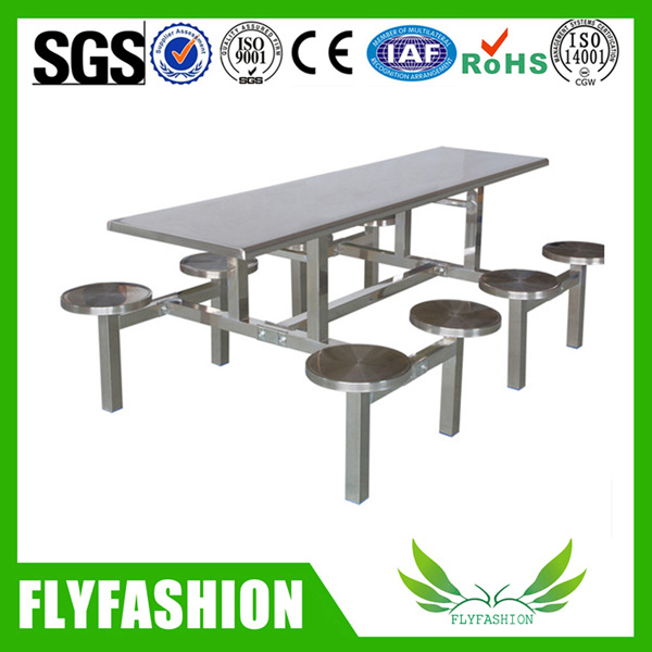 Canteen Stainless Steel Fast Food Dining Table for 8 Person