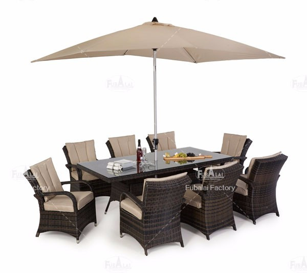 China Rattan Table Dining With 8