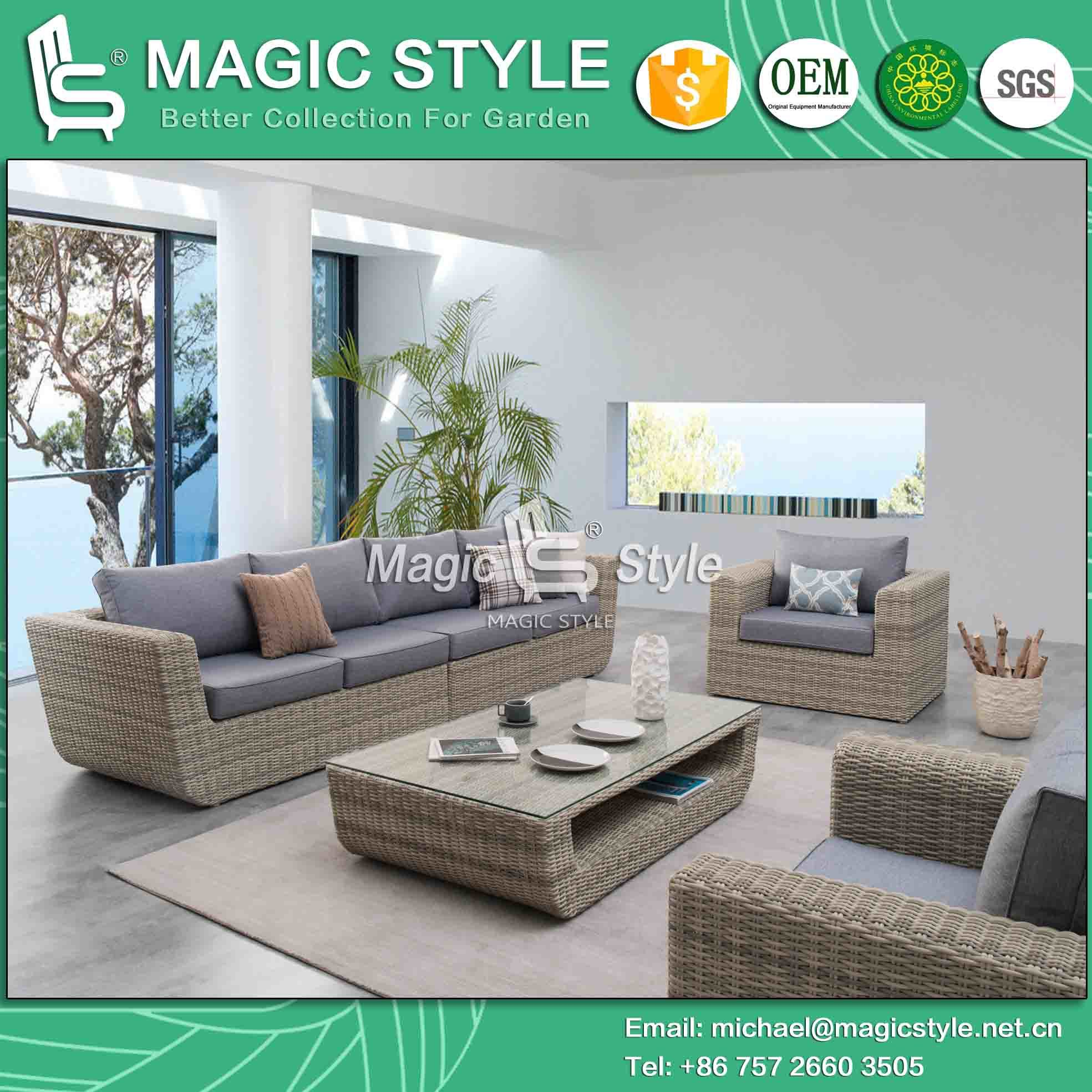 China Garden Wicker Furniture Outdoor Rattan Sofa Set With Cushion 2 Seat Leisure Patio