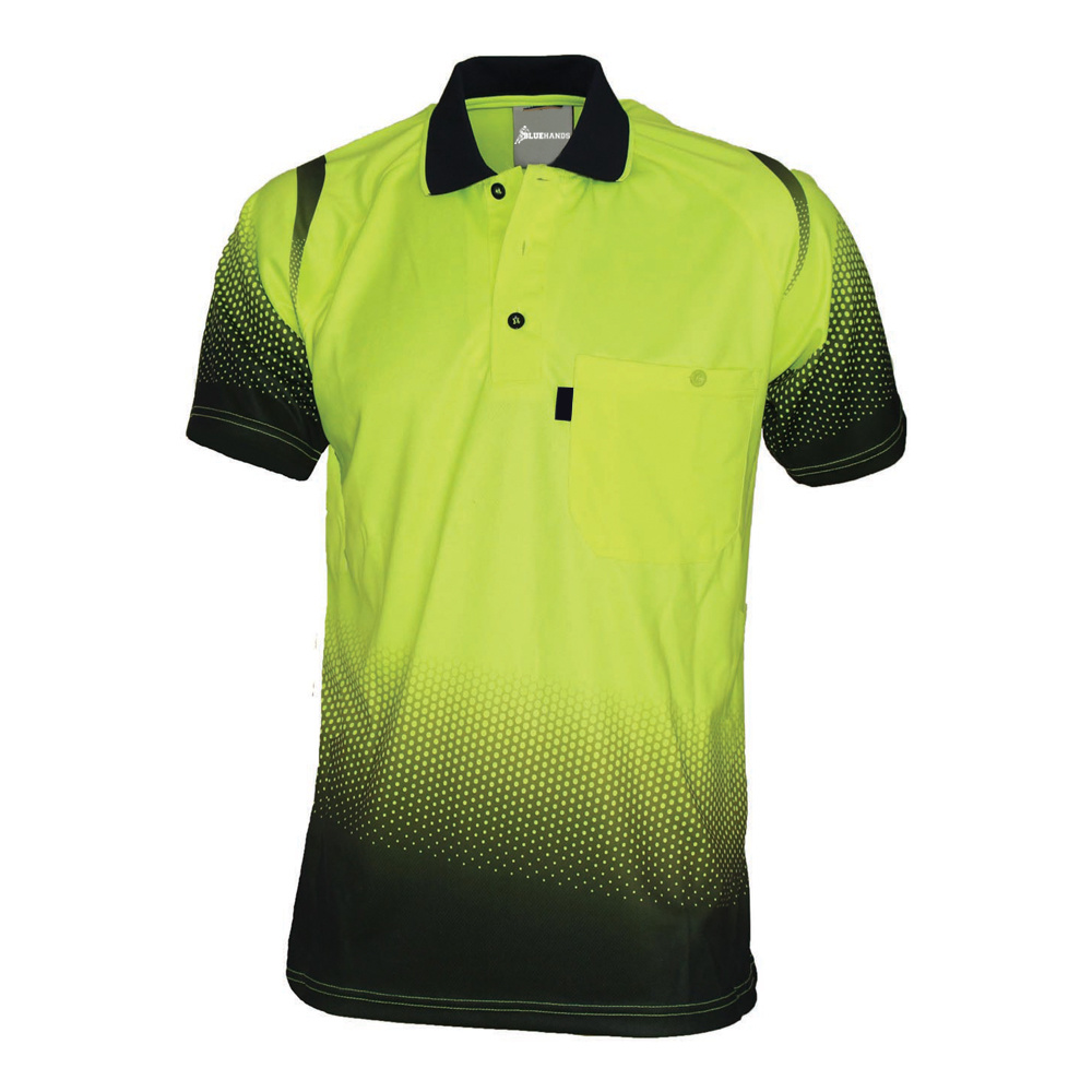 China Customized Dry Fit Green Hi Vis Polo Shirts For Workers
