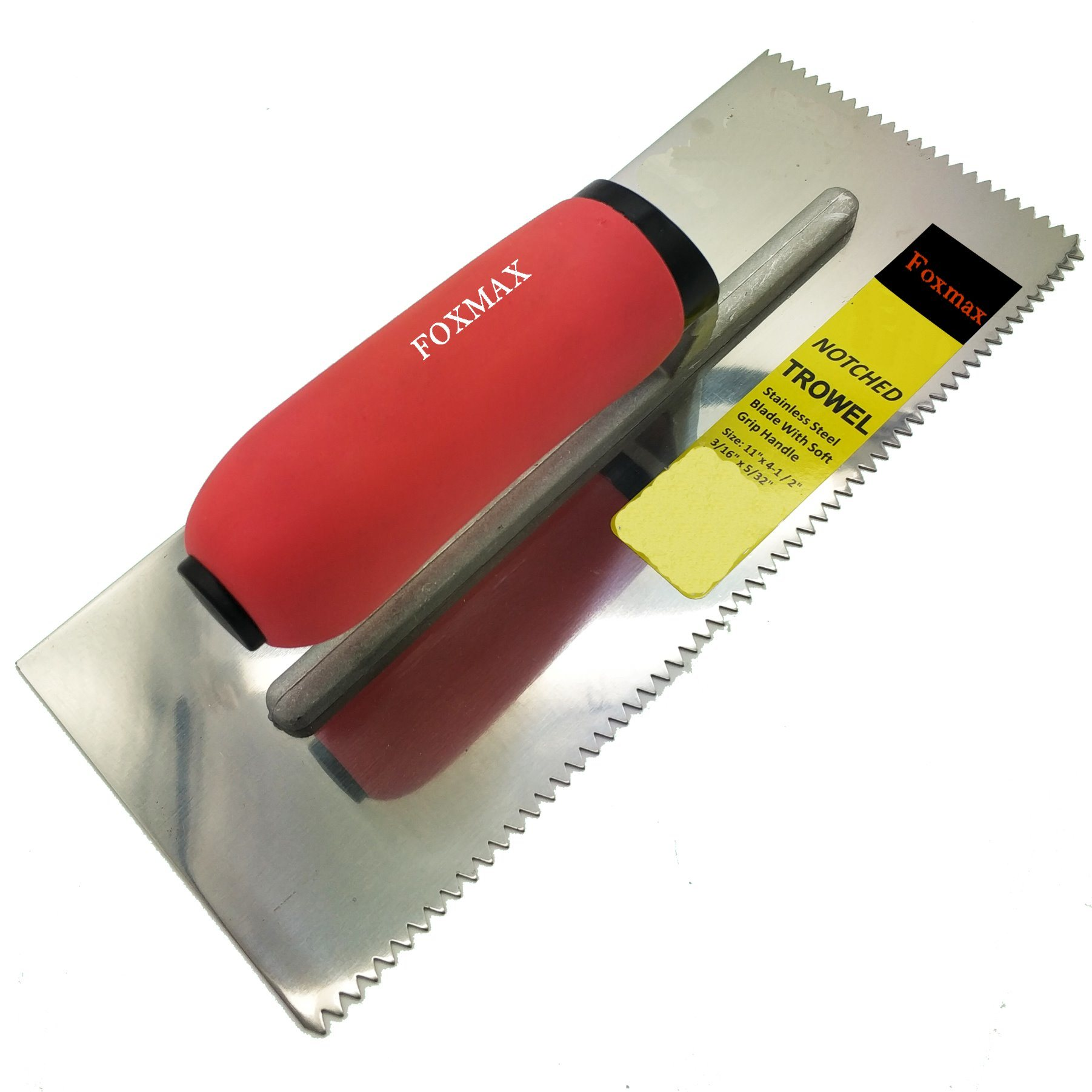 "Stainless Steel Trowel 11""*4-1/2"" V Notched 3/16""*5/32"" with Soft Red Handle (FPT23) pictures & photos"