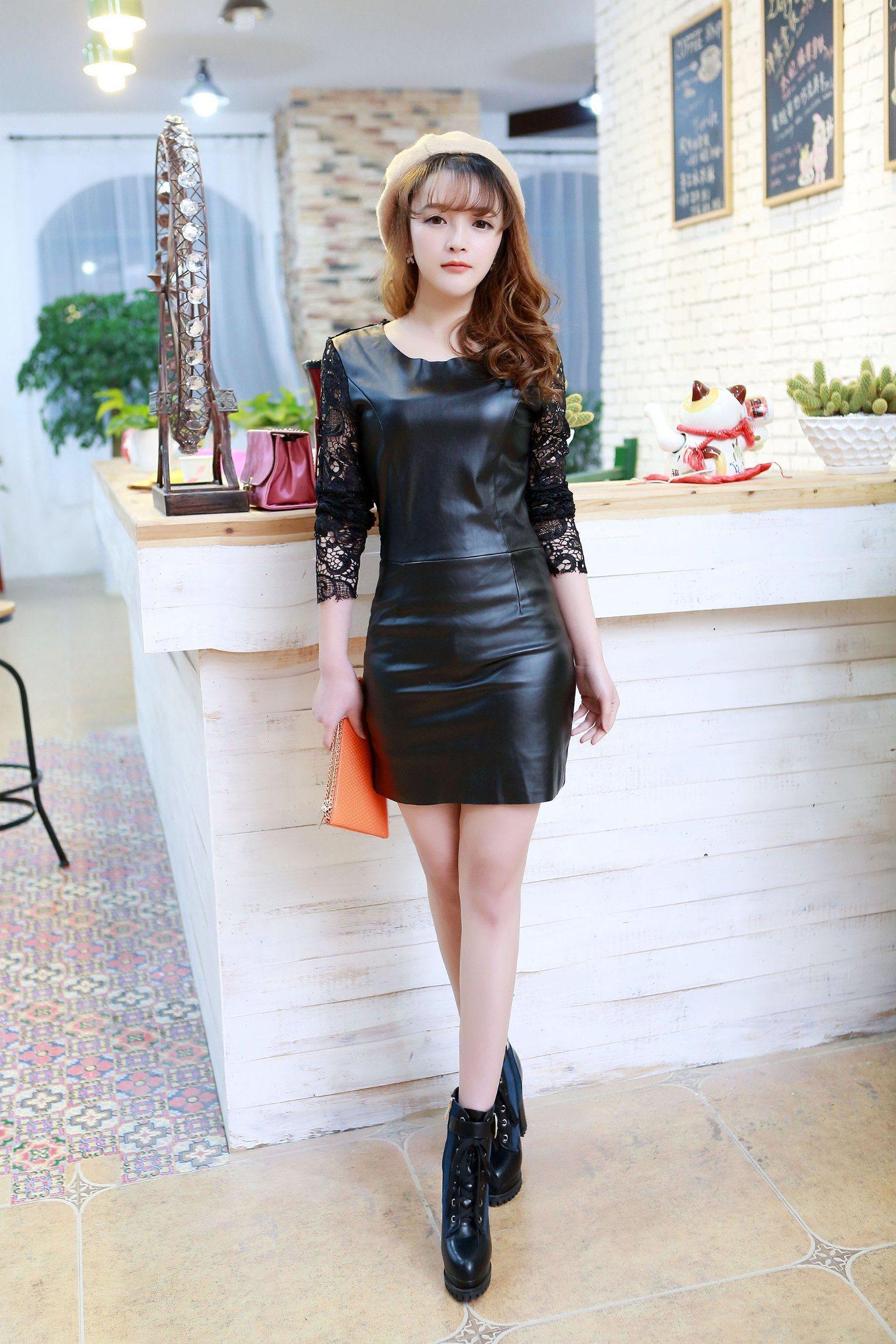 China Korean Stitching Long Stitching Long Sleeve Slim Pu Dress