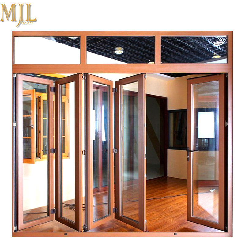 [Hot Item] New Design Glass Aluminum Alloy Clad Wood Bifold Door Sale