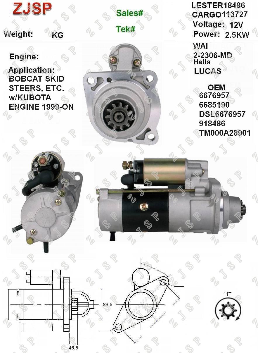 Starter Bobcat 6676957 6685190 DSL6676957 TM000A28901 NEW 18486