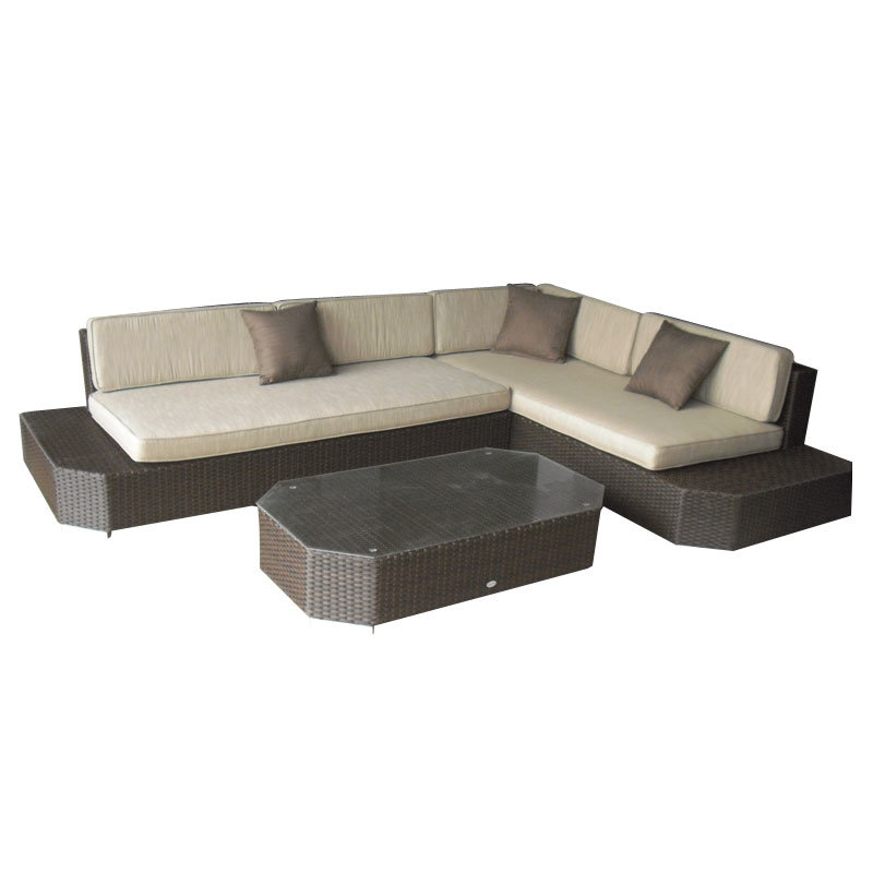 Table de chaise de patio en osier d'extérieur en osier pour meubles de Chine