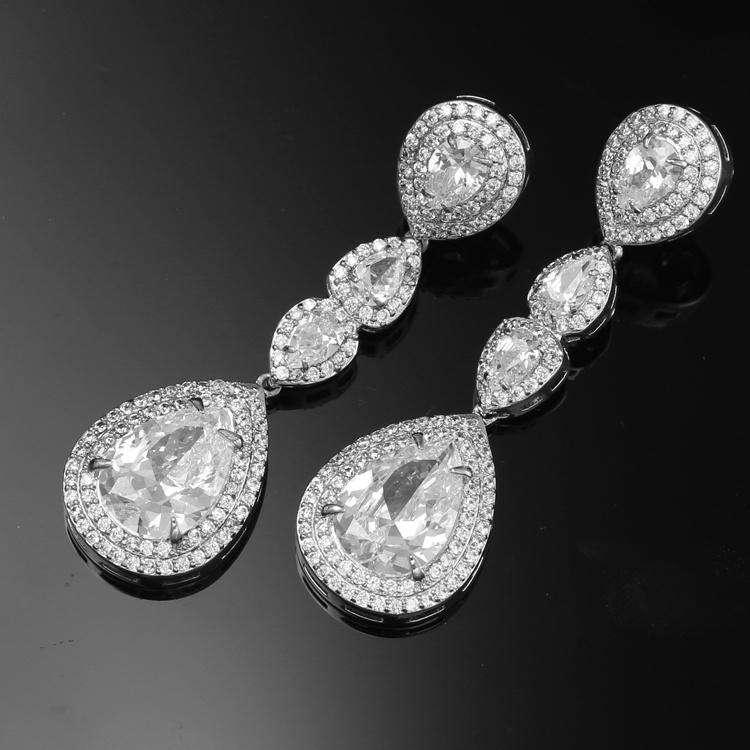 f2178ce3f Cubic Zirconia Earrings Bridal Jewelry Long Teardrop Dangle Earring Women  CZ Wedding Brass Earrings