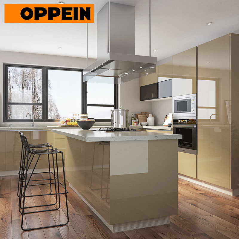 China Oppein Modern Open Plan High Gloss Beige Kitchen Cabinets With Island China Open Kitchen Kitchen With Island