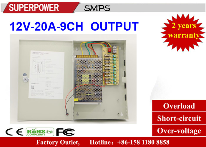 China 12V 20A 9CH Output CCTV Camera Switching Power Supply - China ...