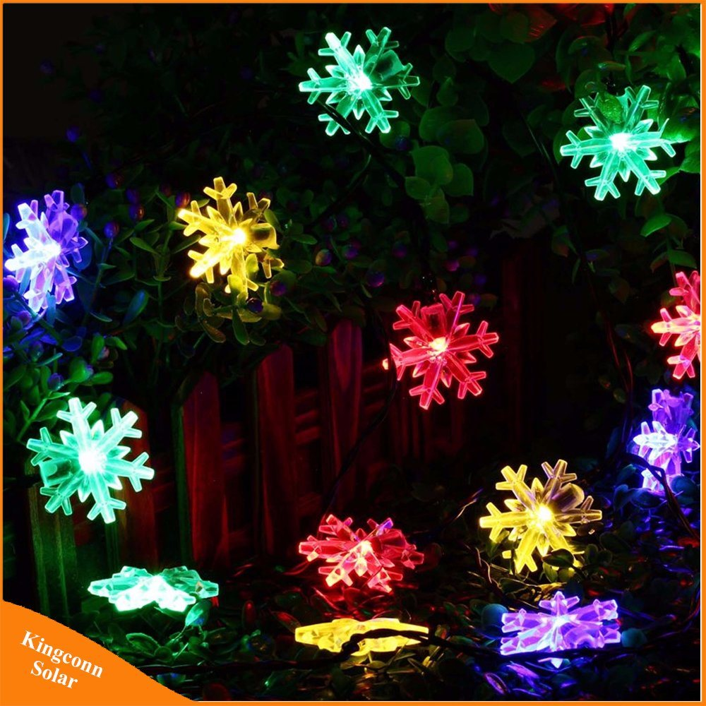 China 20 Led Snow Flake Flowers Solar String Fairy Lights Waterproof Sunny Light Gardensolar Yard Powered Lighting Outdoor Decorated Garden Christmas