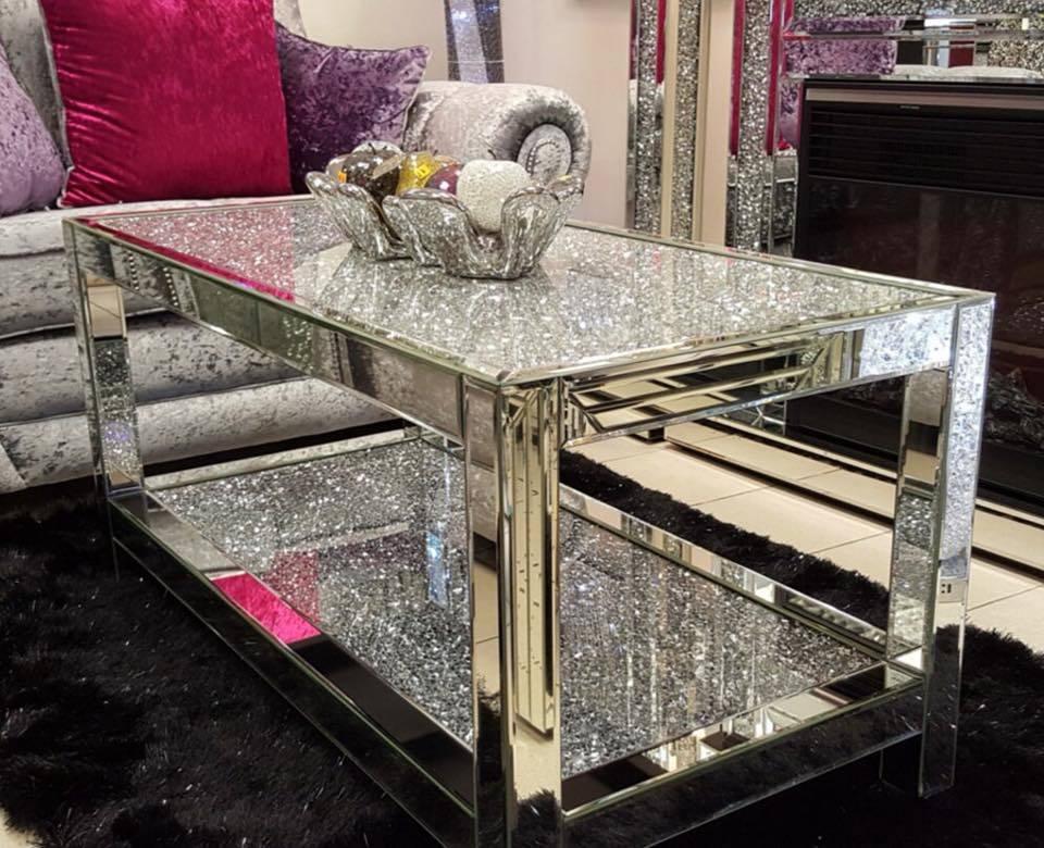 China Top Quality Luxury Rectangle Crushed Diamonds Mirrored Coffee