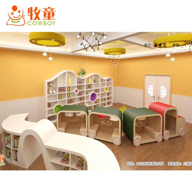 High Quality Library Bookshelf Bookcase Preschool Classroom Kids Furniture