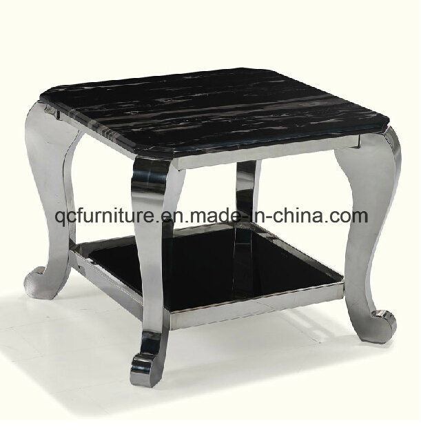 Marble And Silver Coffee Table.Hot Item Wholesale Black Marble Side Table With Silver Stainless Steel Frame