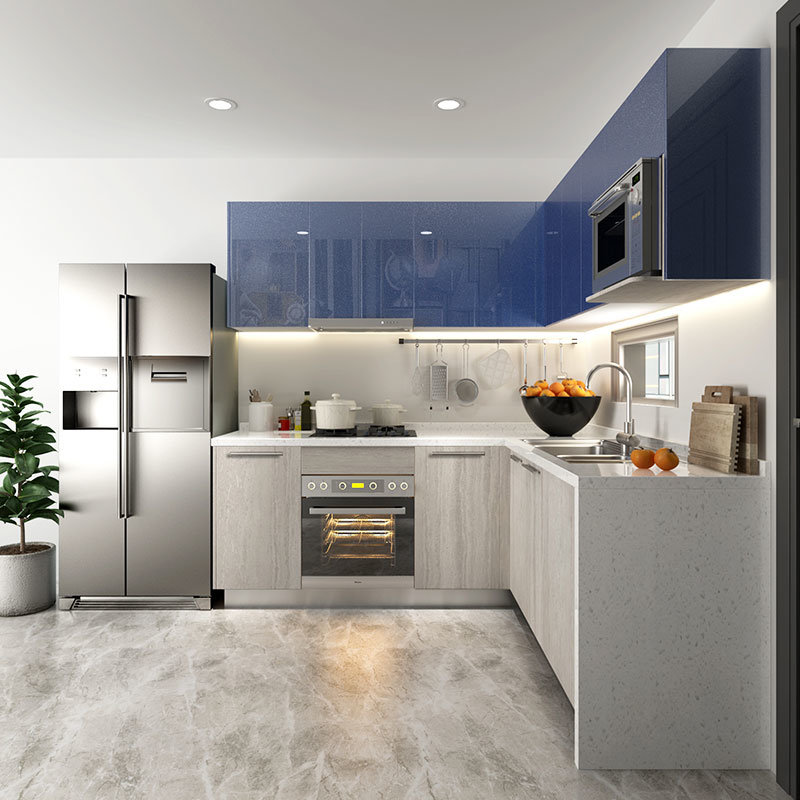 China Oppein High Gloss Blue And Grey Stain Fitted Kitchen Cabinets China Stain Kitchen Cabinets Blue Kitchen Cabines
