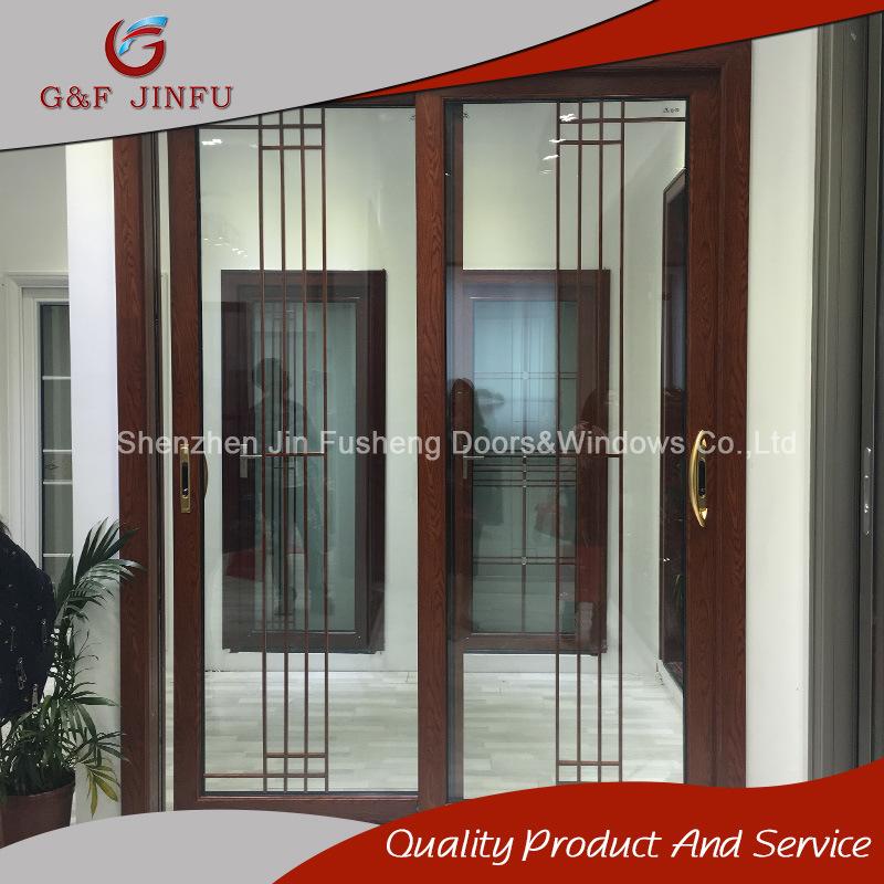 Hot Item Wood Color Aluminum Frame Glass Sliding Doors