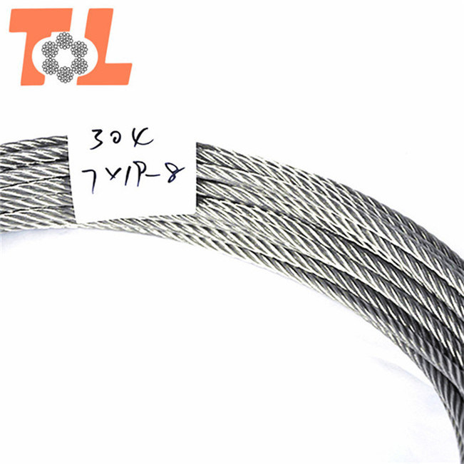 China 316 7X19 Stainless Steel Wire Rope and Cable Diameter 8mm ...