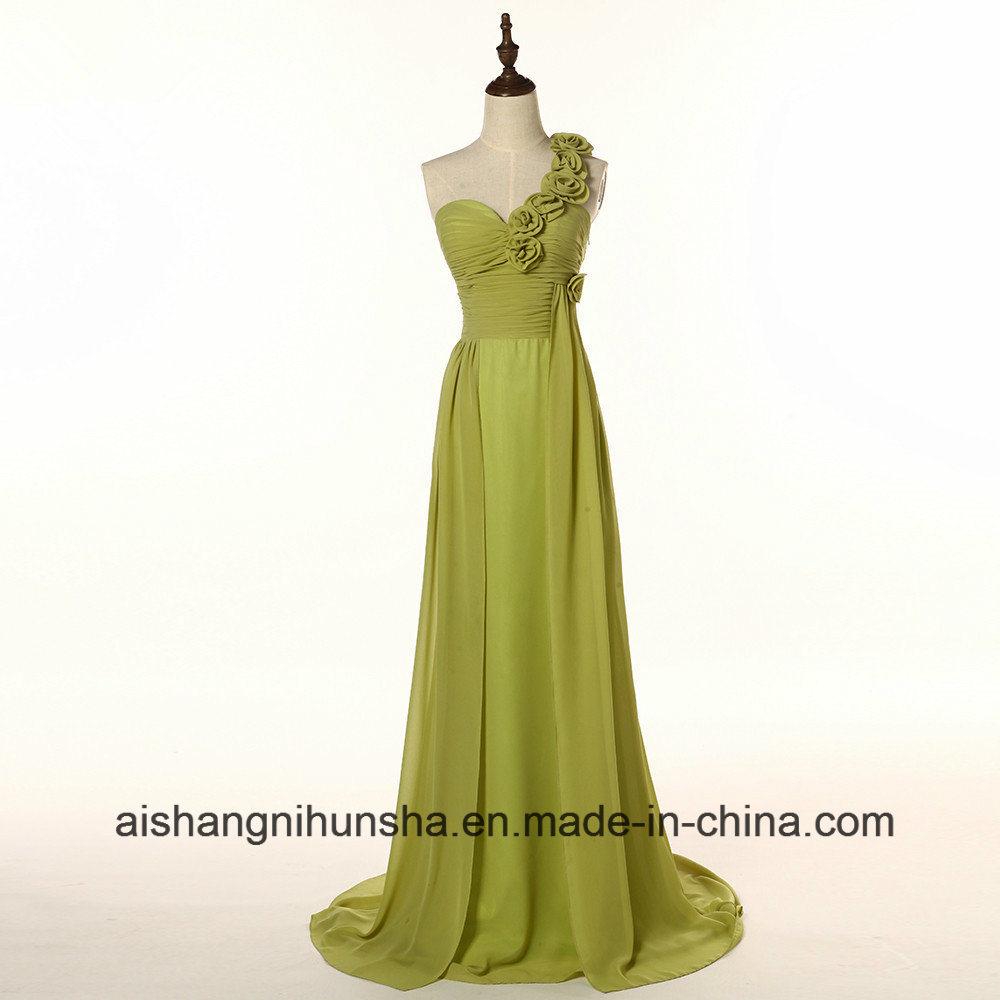 China Chiffon Bridesmaid Dresses Long One-Shoulder Flowers Wedding ...