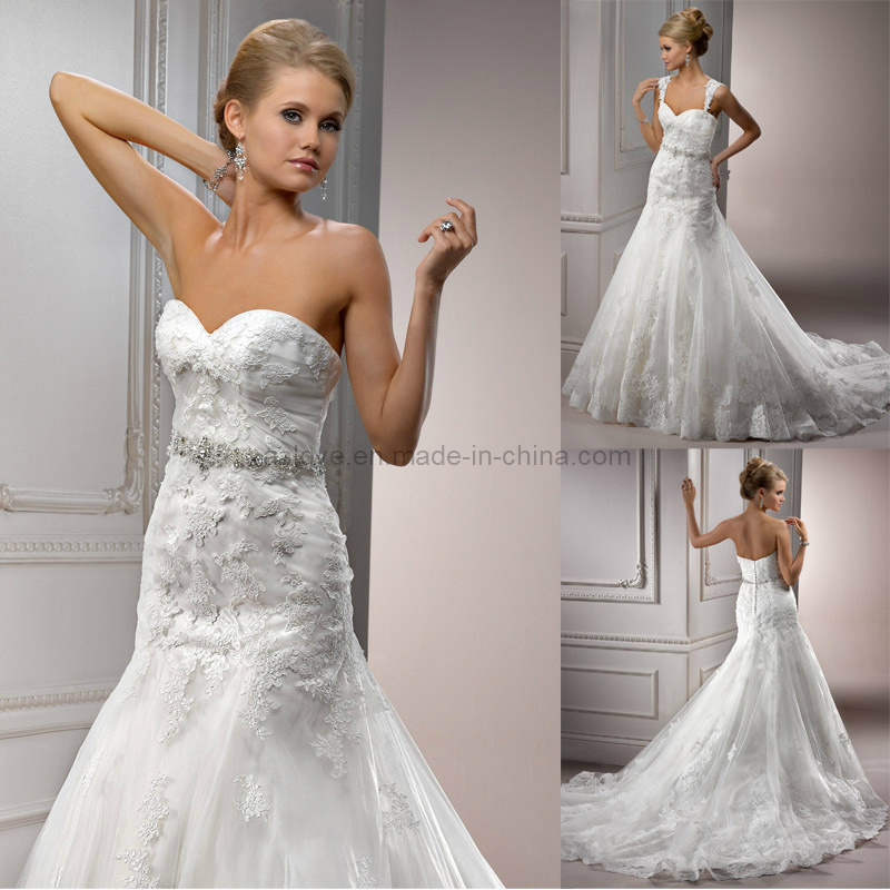 Wedding Gown Preservation Process Machines: China Detachable Strap Lace A-Line Wedding Dress/Bridal