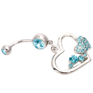 Hot Item Blue Glass Design Belly Button Ring