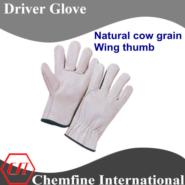 Natural Cow Grain, Wing Thumb Leather Driver Glove