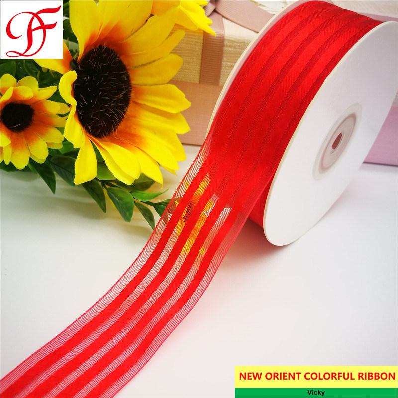 COLOURS OF CHRISTMAS Craft Ribbon 50m NARROW ORGANZA RIBBON