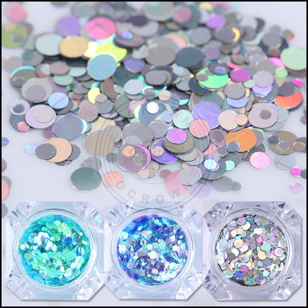 China Mermaid Nail Sequins Round Glitters Manicure Nail Art Tips ...