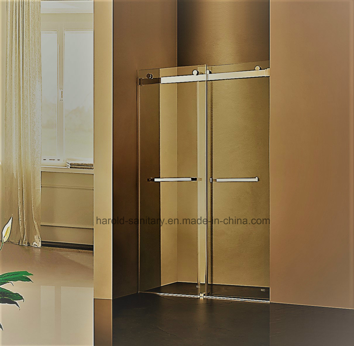 Hot Item Hr 021 D Straight Frameless Double Sliding Shower Door
