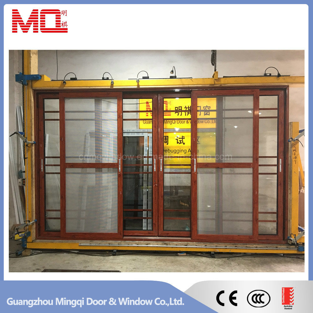 China Aluminum Glass Sliding Door With Grills And Mosquito Net