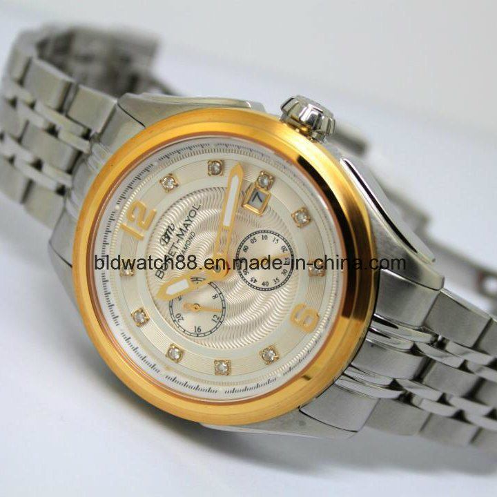 Luxury Self-Winding Sport Leather Mechanical Automatic Mens Watch Gold pictures & photos