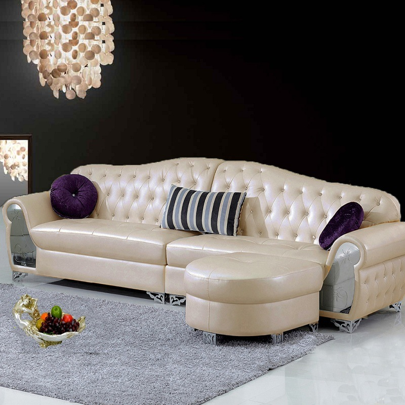 China Modern European Style Living Room Leather Corner Sofa Furniture