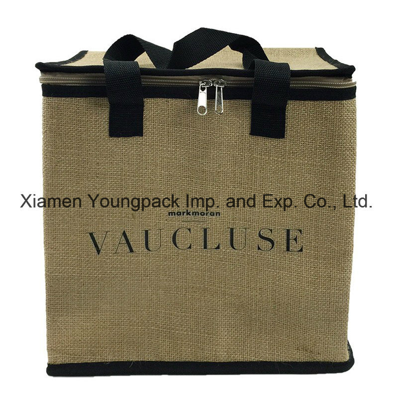 Promotional Custom Printed Large Reusable Insulated Jute Cooler Bag