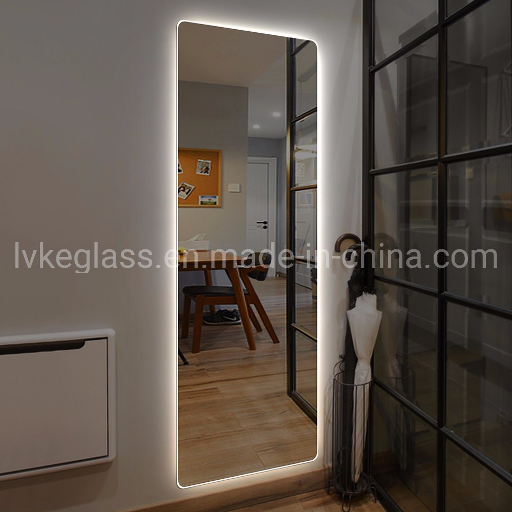 China Wholesale Big Size Cheap Floor Stand Led Dressing Mirror Full Length Mirror With Bluetooth China Led Mirror Multi Function Mirror