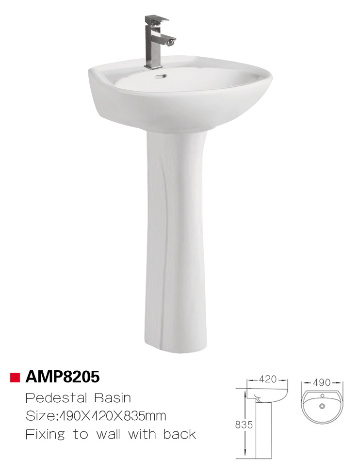 Bathroom Pedestal Sink Ceramic Basin
