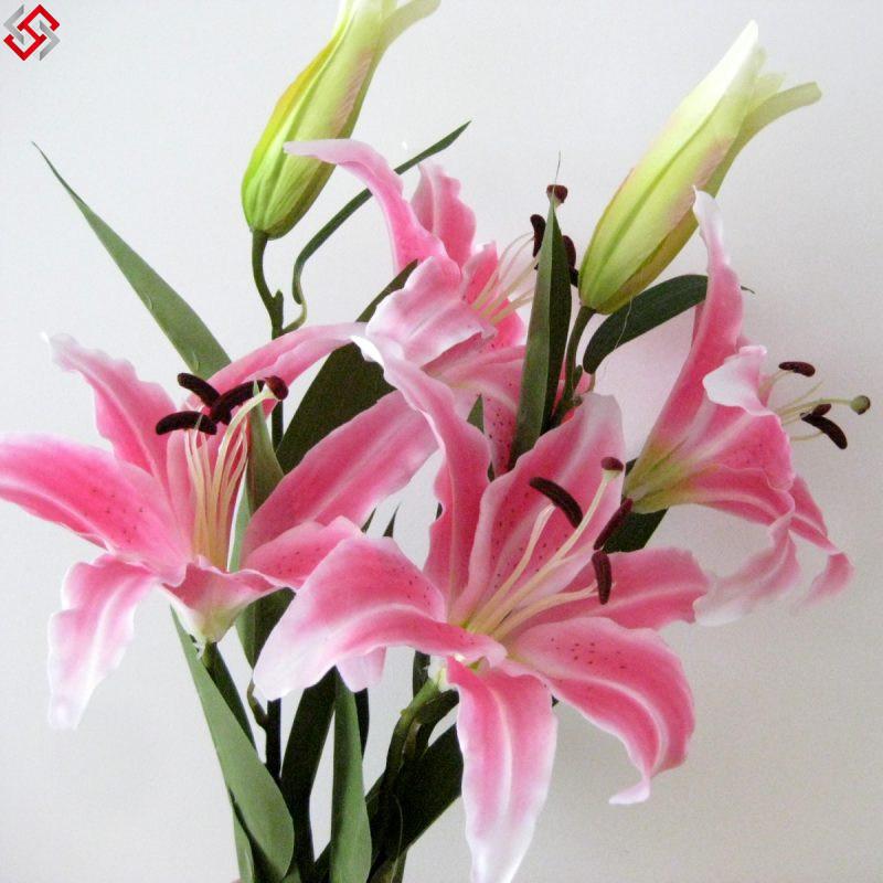 Long Lilies Silk Flowers Pink