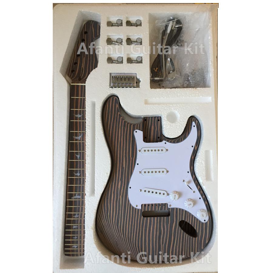 [Hot Item] Strat Guitar Kit Zebrawood Build Your Own Guitar