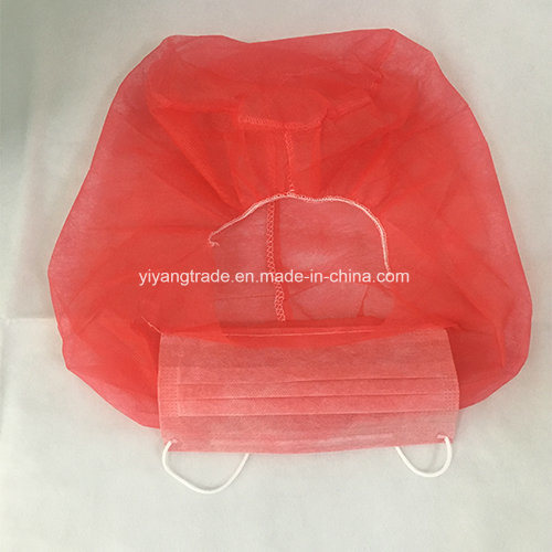 red disposable face mask