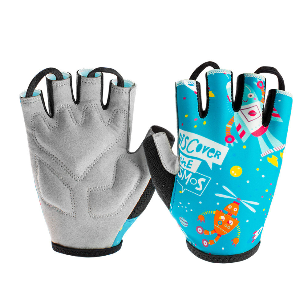 Children Half Finger Outdoor MTB Cycling Sports Fitness Short Finger Gloves New