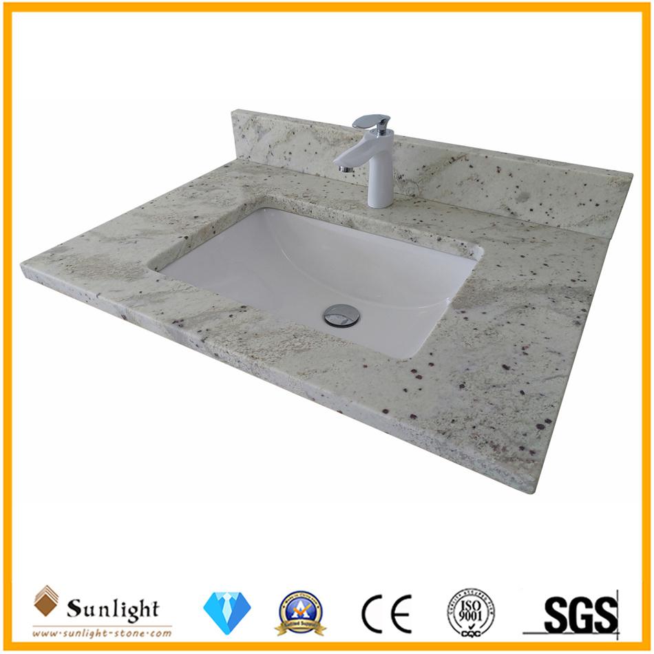China Prefab 36 Inch Andromeda White Granite Hotel Bathroom Vanity Top With Sink China Kitchen Tops Island Top