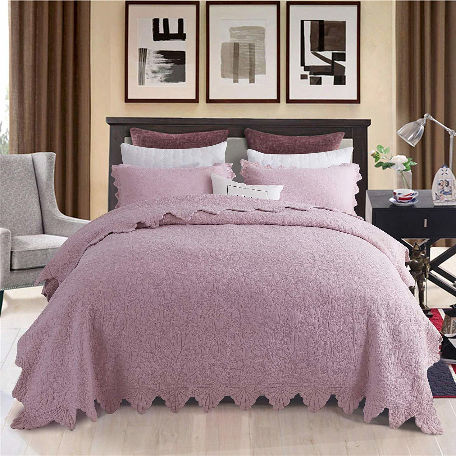 China Lavender Purple Bed Quilt Set China Quiltd Bedspread And Comforter Price