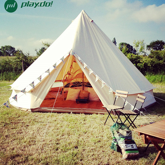 5m Gl&ing Luxury Cotton Canvas Bell Tent Beige Color Family C&ing Bell Tent with Stove Hole & China 5m Glamping Luxury Cotton Canvas Bell Tent Beige Color ...