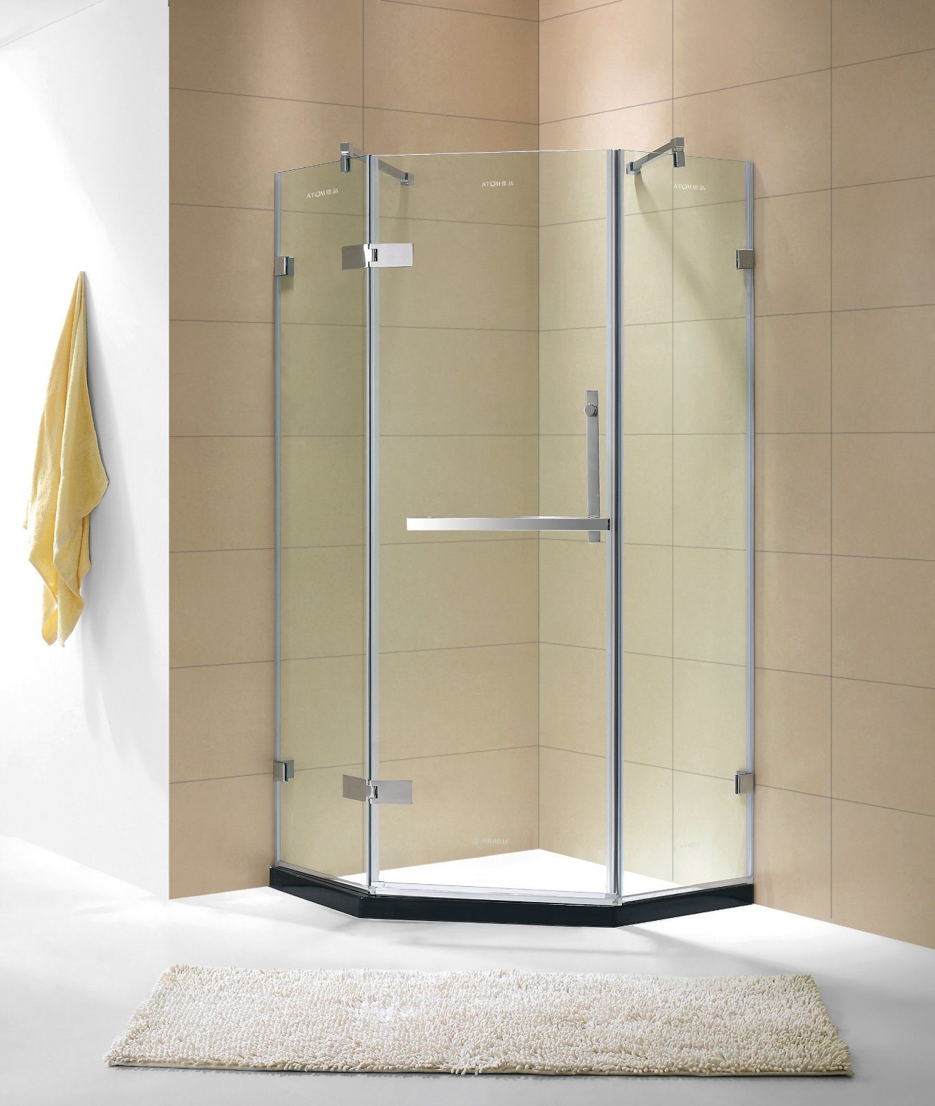 China 5/16′′ Toughened Glass Hinged Shower Enclosure with Diagonal ...