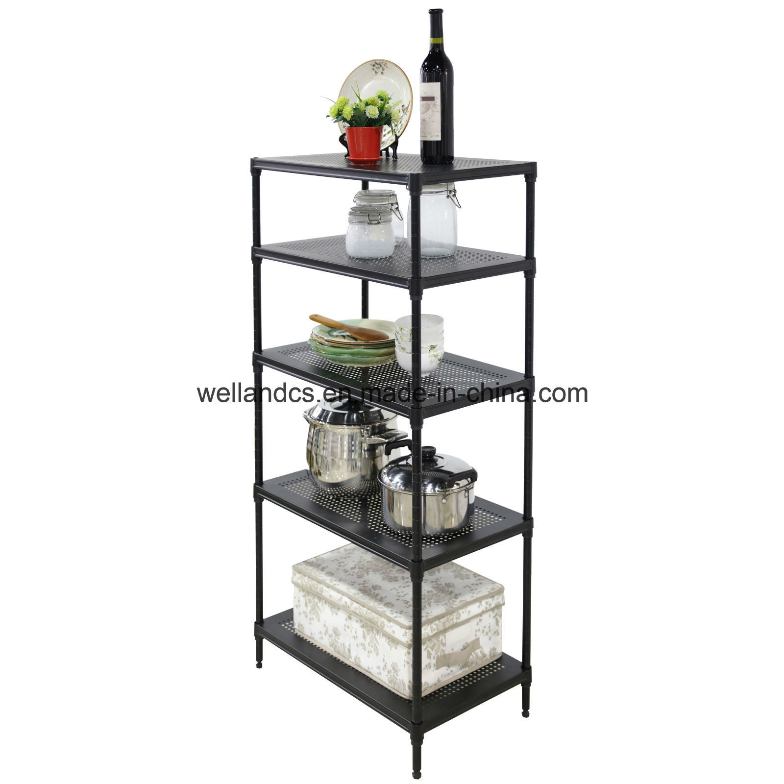 China Perforated 5 Tier Wire Shelving Rack Unit Steel Shelf Storage ...